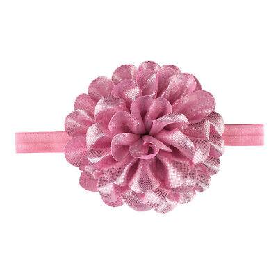 Baby Girls Glitter Flower Bow Headband Ribbon Elastic Hairband Newborn Headdress 4