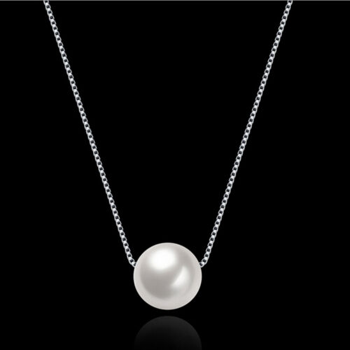 Jewelry 925 Sterling Silver Crystal Pearl Pendant Necklace Chain Women Gift