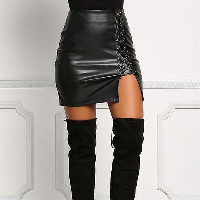 1847c87a8f22 ... Mode Pour Femmes Femme Noir Jupe Cuir Taille Haute Fin Crayon Fête Mini  Jupe 4