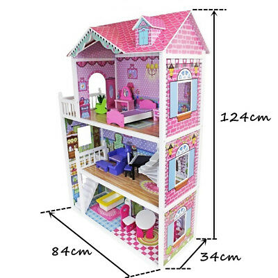3 Storey Large Mansion Kids Girl Wooden Doll House Pink Dollhouse Furniture 18pc 10