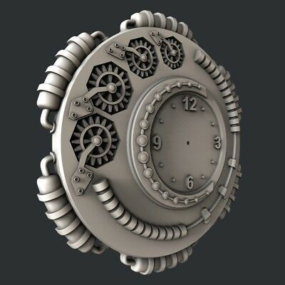 3d STL models for CNC, Artcam, Aspire, relief clock 9 2