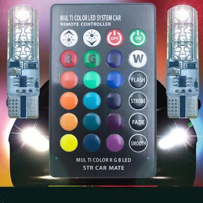 2pcs T10 W5W 5050 RGB Remote Control Car LED Light 6SMD Colorful Side Light Bulb 2