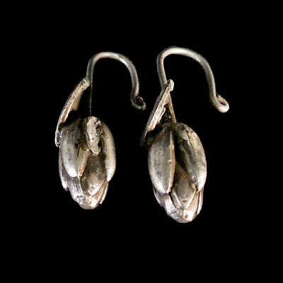 Buddhist silver earrings in form of lotus leaves and unopened flowers. x7492 4