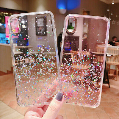 Bling Glitter Case For iPhone 7 Plus 8 XR XS Max Clear Gel Soft Phone Case Cover 6