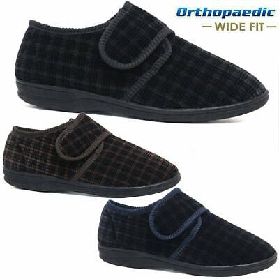 Mens Diabetic Orthopaedic Easy Close Wide Fitting Strap Slippers Shoes Size 7-14 8