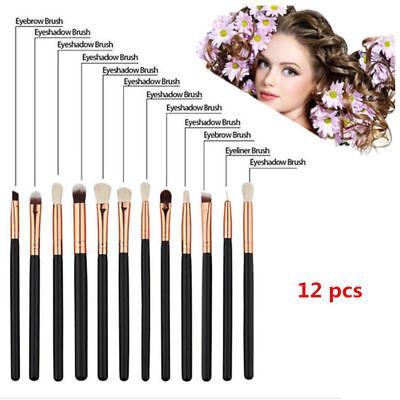 12x Professional Eyeshadow Blending Pencil Eye Brushes Set Makeup Cosmetic Black 3