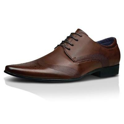 Mens Faux Leather Shoes New Italian Smart Formal Wedding Office Party Shoes Size 5