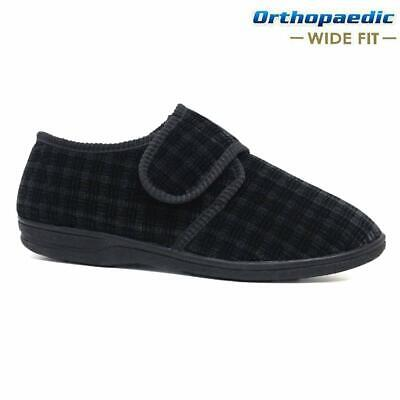 Mens Diabetic Orthopaedic Easy Close Wide Fitting Strap Slippers Shoes Size 7-14 2