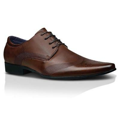 Mens Faux Leather Shoes New Italian Smart Formal Wedding Office Party Shoes Size 4
