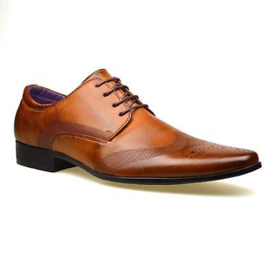 Mens Faux Leather Shoes New Italian Smart Formal Wedding Office Party Shoes Size 6
