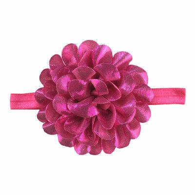 Baby Girls Glitter Flower Bow Headband Ribbon Elastic Hairband Newborn Headdress 6