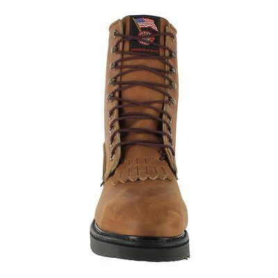 """Justin Men/'s Steel Toe Work Boots 764  8/"""" Lace-Up DoubleComfort $195 USA Made"""