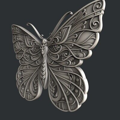 3d STL models for CNC, Artcam, Aspire, relief butterfly 3