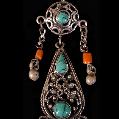 Pair of Pashtun silver tribal earrings with turquoise and coral beads. x6002 2