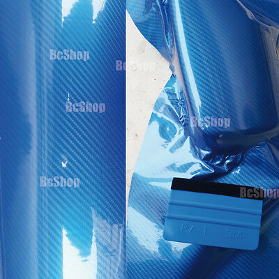 Covering carbone 5d bleu 20cm x30 cm thermoformable extra brillant film adhesif 2