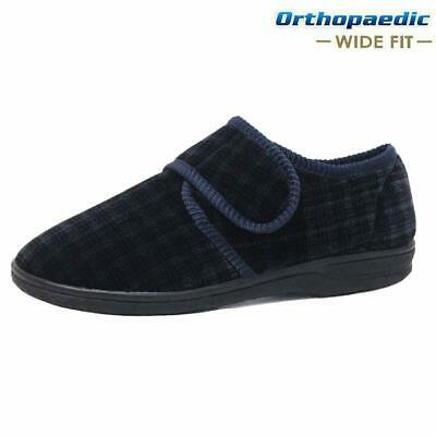 Mens Diabetic Orthopaedic Easy Close Wide Fitting Strap Slippers Shoes Size 7-14 3