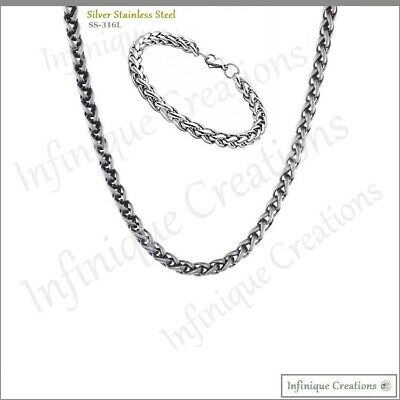 "Men Women Stainless Steel Silver Wheat Braided Chain Necklace Bracelet 7""-38"" 4"