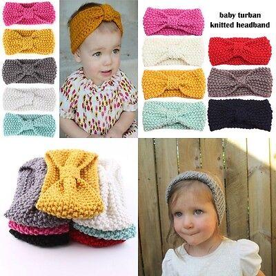 Bébé Fille Bandeau Papillon Nœud Crochet Enfant Serre-tête Cheveux Turban Mignon 3