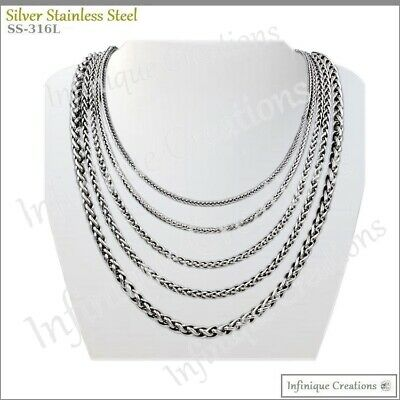 "Men Women Stainless Steel Silver Wheat Braided Chain Necklace Bracelet 7""-38"" 5"