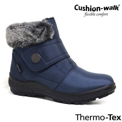 LADIES SNOW BOOTS WINTER THERMO TEX WARM THERMAL SKI FUR NON SLIP ANKLE BOOTS