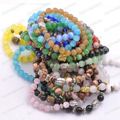 Natural Gemstone Round Beads Buddha Head Stretchy Bracelets 8MM Assorted Stones
