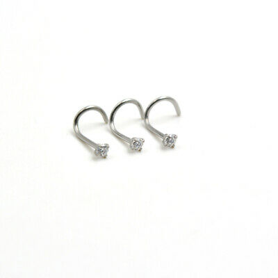 Nose Stud Pin 316L Surgical Steel Clear CZ Nose Stud Piercing Bar Screw L I UK 4