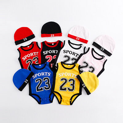 Baby Jordan 23 Romper +Hat Newborn Boy Girl Babygrow Outfits Clothes 8