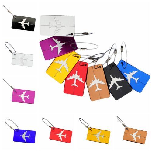 Étiquette Bagages Luggage Aluminium Porte Carte ID Nom Tag Valise Sac Voyage NF 2