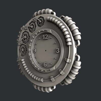 3d STL models for CNC, Artcam, Aspire, relief clock 9 3