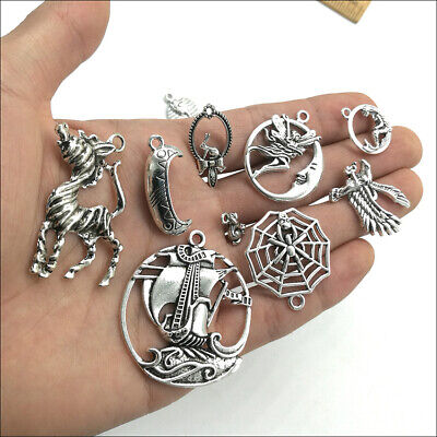 Wholesale Antique Silver Charms Pendants Jewelry Findings Carfts DIY 100+ kinds 10