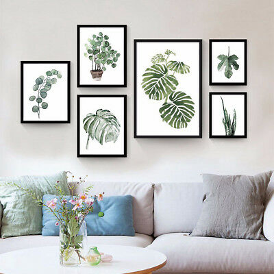 Tropical Plants Leaves Canvas Vintage Poster Wall Art Prints Modern Home Decor 4