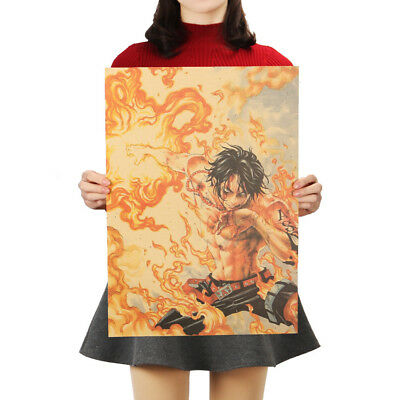 Classic Anime One Piece Series Posters Kraft Paper Cafe Decorative Wall Painting 8