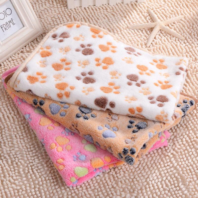 Lovely Design Paw Print Soft Warm Fleece Pet Blanket Dog Cat Mat Puppy Bed Sofa 2