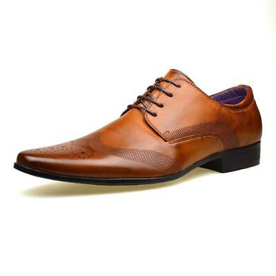 Mens Faux Leather Shoes New Italian Smart Formal Wedding Office Party Shoes Size 7