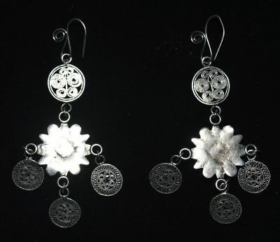 Republic Of China Old Silvering Copper Jewelry Handicraft Filigree Earbob Pair 2
