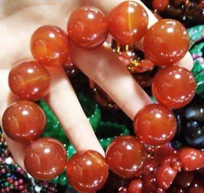Ingenious China Pure Natural Red Agate Handmade Elastic Bracelet 7