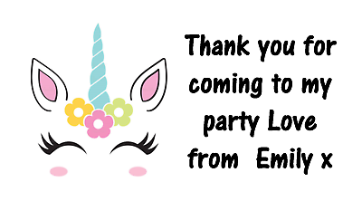 Personalised 48 Unicorn Head Horns Ears Stickers Labels Party Bag Sweet Cones