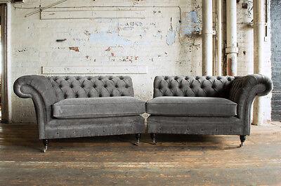 LARGE HANDMADE SPLIT 4 Seater Slate Grey Velvet Chesterfield Sofa Couch,