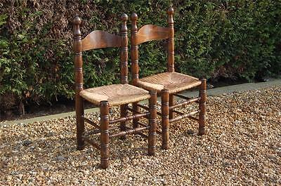 Smashing Pair of Chunky Pine Kitchen Chairs with Rattan Seats 2