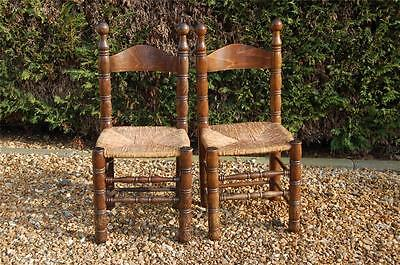 Smashing Pair of Chunky Pine Kitchen Chairs with Rattan Seats 4