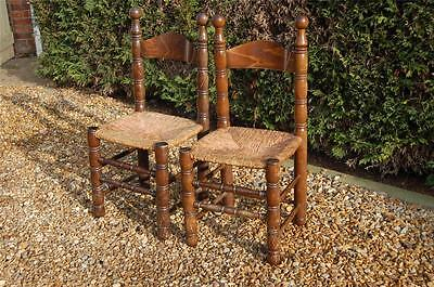 Smashing Pair of Chunky Pine Kitchen Chairs with Rattan Seats 5
