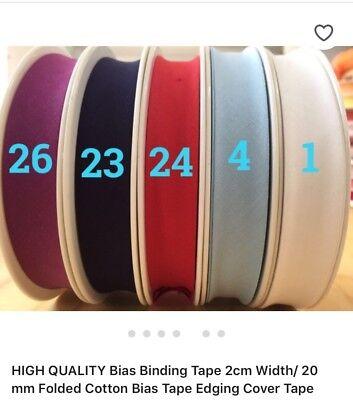 81 COLOURS %100PURE COTTON  Bias Binding Tape 2cm Width/ 20 mm 10