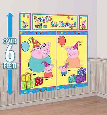 PEPPA PIG Scene Setter Happy Birthday Party Wall Decorations Kit Mom Dad George 2