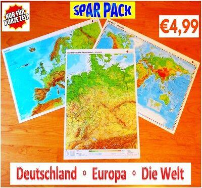 Sparpack Deutschland + Europa + Welt Landkarte Poster Wand Bild A2 Plakat Karte 2