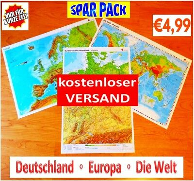 Sparpack Deutschland + Europa + Welt Landkarte Poster Wand Bild A2 Plakat Karte 3