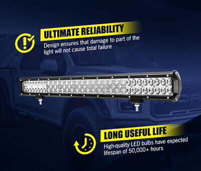 LightFox 26inch LED Light Bar Spot Flood Driving Driving Lamp Offroad 4WD 4X4 9