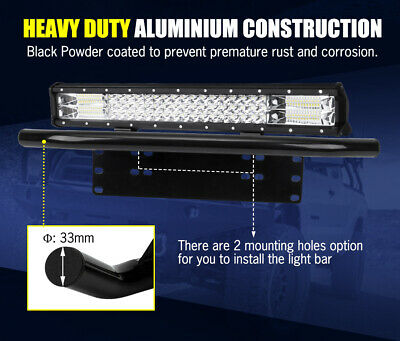 20inch Philips LED Light Bar Spot Flood Work Driving Bar 23'' Number Plate Frame 10