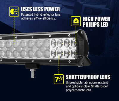 LGHTFOX 23inch Philips LED Light Bar Spot Flood Combo Driving Lamp Offroad 4x4 4