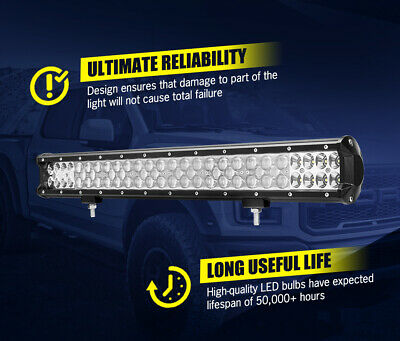 LGHTFOX 23inch Philips LED Light Bar Spot Flood Combo Driving Lamp Offroad 4x4 9
