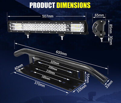20inch Philips LED Light Bar Spot Flood Work Driving Bar 23'' Number Plate Frame 11